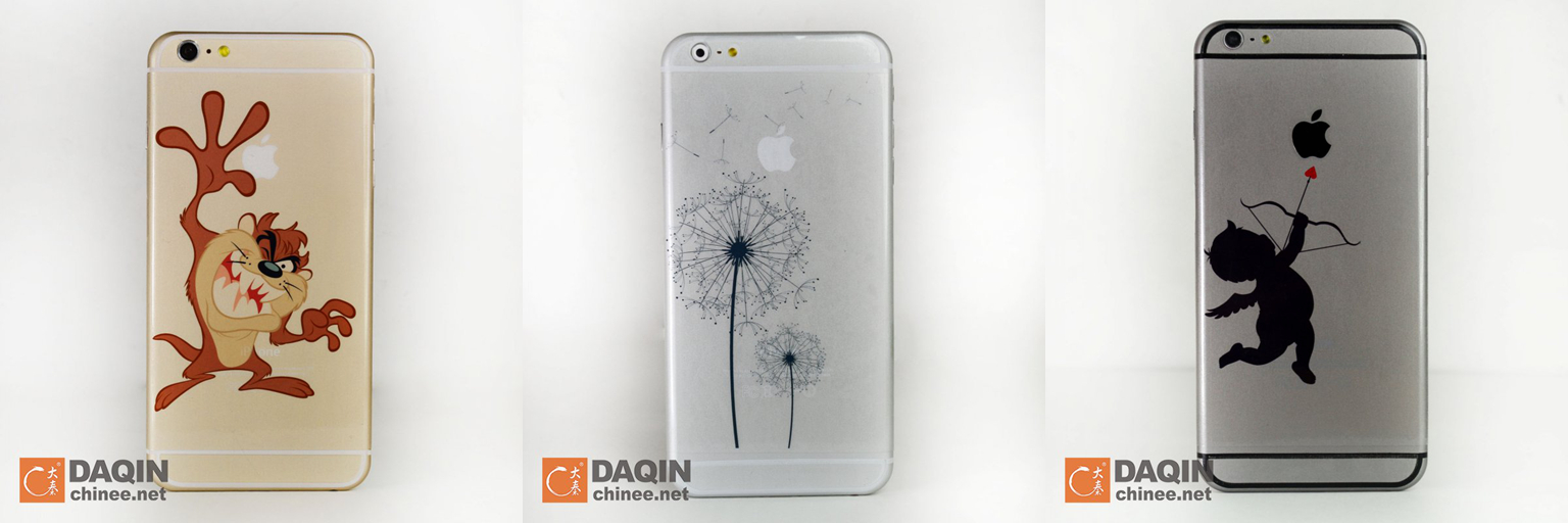 The custom cellphone stickers of iphone 6 plus was produced by the daqin 3d mobile skin designing and making system the whole kit contains sticker